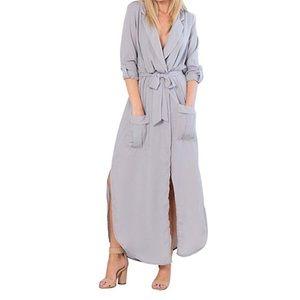 Long Sleeve Chiffon Shirt Maxi Dress